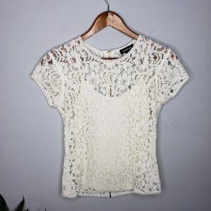 Bebe Lace Short Sleeve Topin Ivory